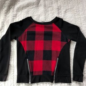 Rue21 Black and red plaid long sleeve with zippers